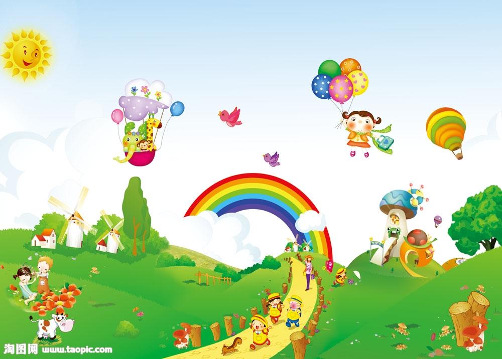 幼儿园卡通墙画psd素材psd素材下载-卡通动漫-psd