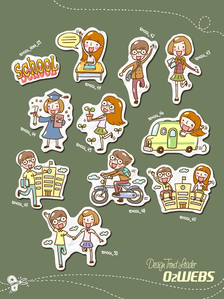 儿童,少儿,彩色,骑单车,毕业,手牵手,上学,卡通男孩,卡通女孩,psd素材图片