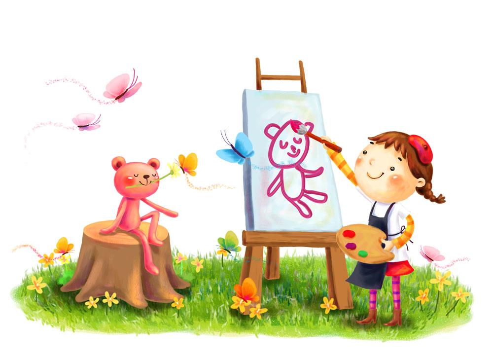 卡通动漫 卡通模板,卡通儿童,小孩子,女孩儿,可爱卡通,画画,肖像,小熊图片