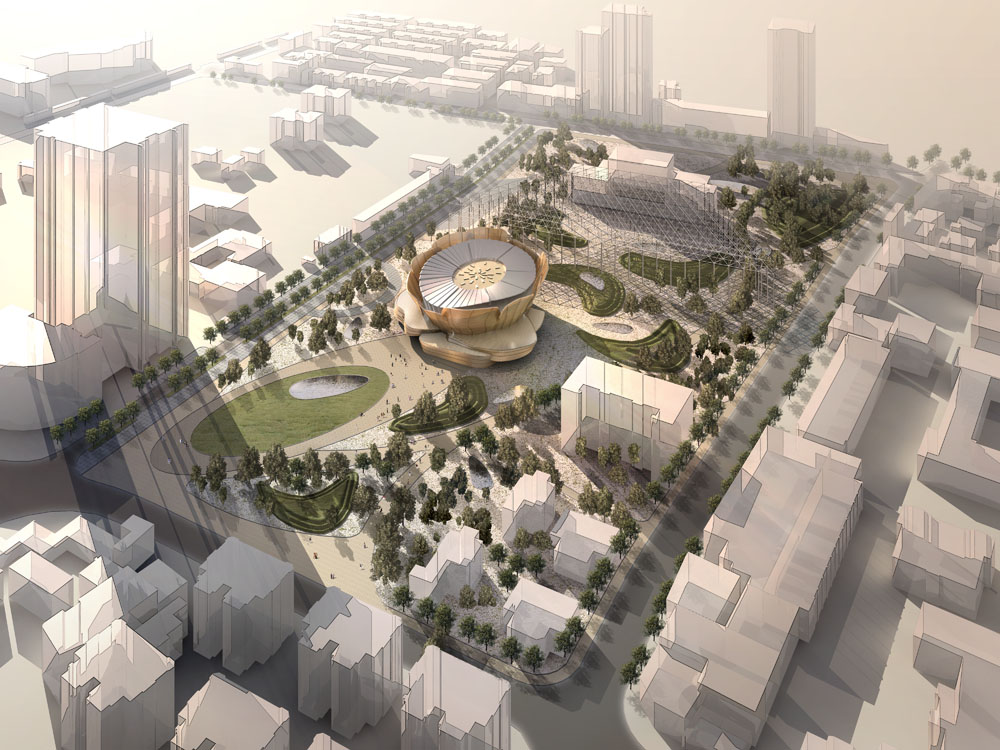 建筑外观,建筑设计,景观设计,3d效果图,上海,文化广场,鸟瞰图,俯视图图片