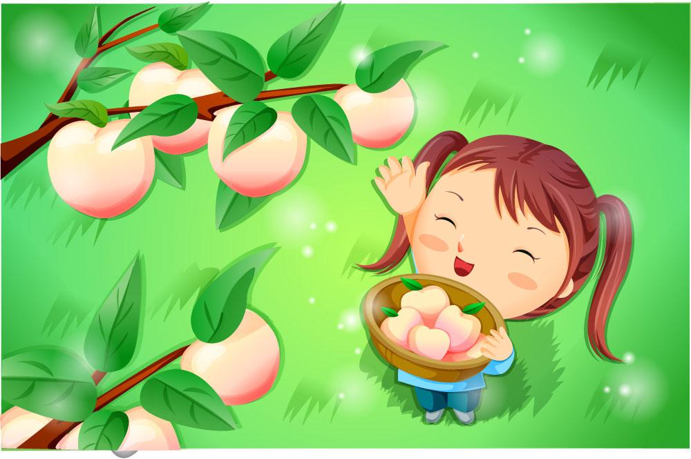 卡通画,插画,卡通人物,韩国插画,时尚插画,卡通儿童,女孩,桃子,水果图片