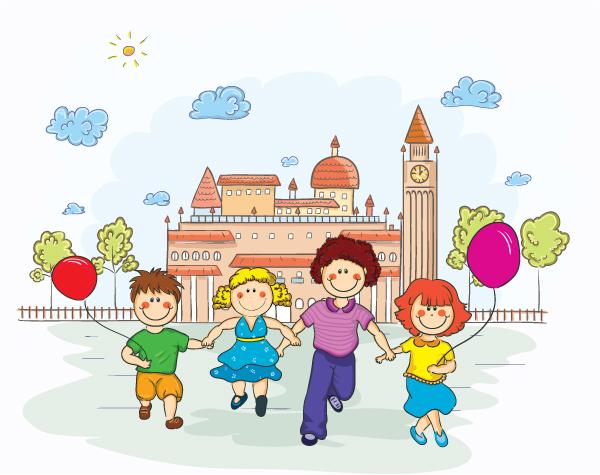 时尚元素,漫画,卡通,人物插画,手绘,卡通儿童,小孩,女孩,男孩,手牵手图片