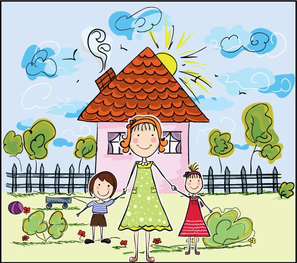 时尚元素,漫画,卡通,人物插画,手绘,可爱,卡通儿童,小孩,女孩,手牵手图片