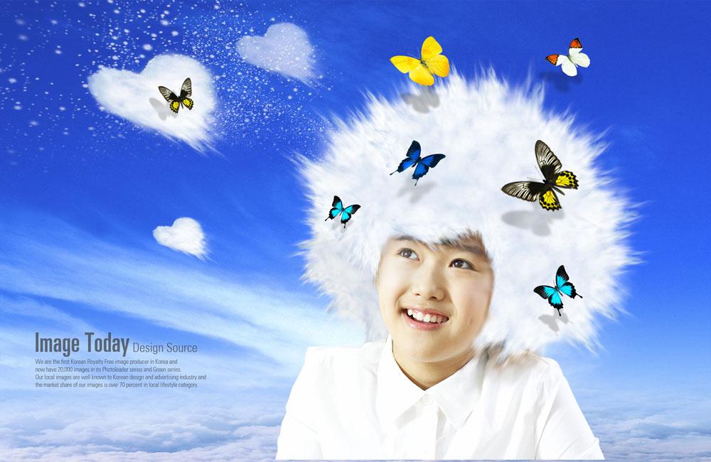 儿童,爱心,心形,蝴蝶,云层,云朵,蓝天白云,蓝色背景,抽象,创意,海报图片
