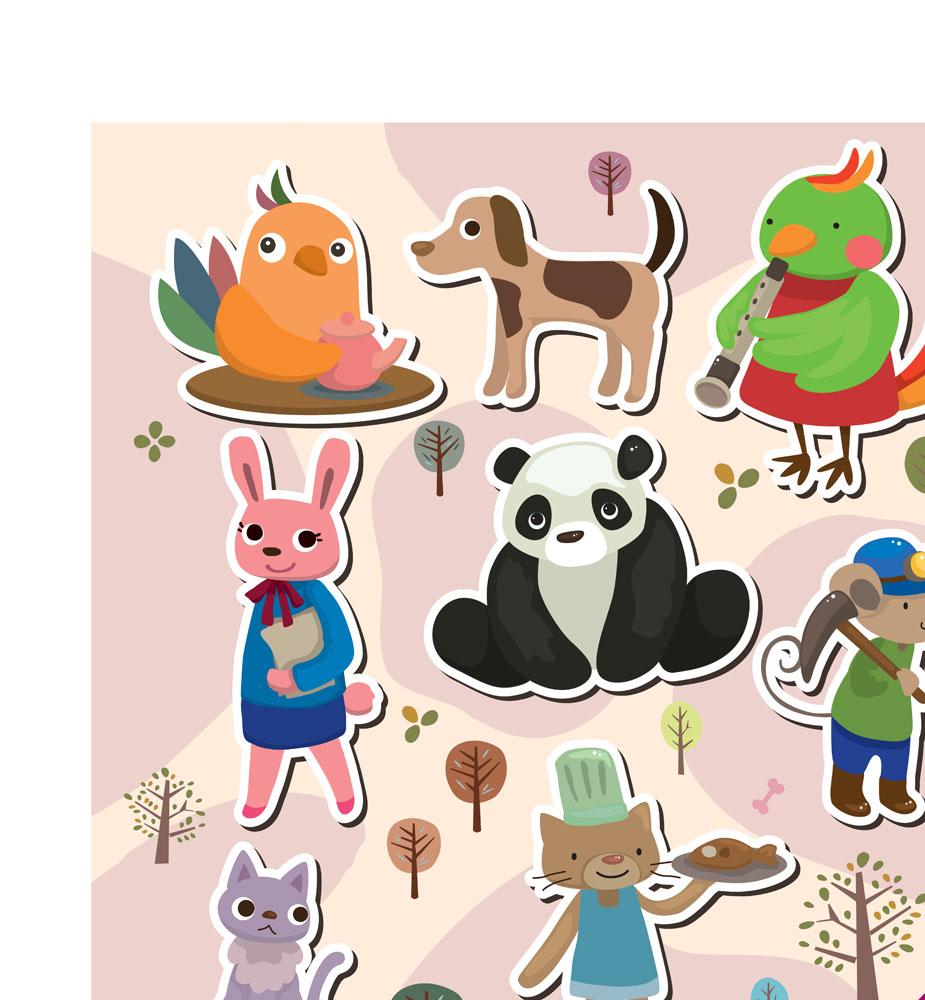 陆地动物 矢量生物,卡通动物,可爱卡通,猫咪,小猫,小狗,小鸡,熊猫图片