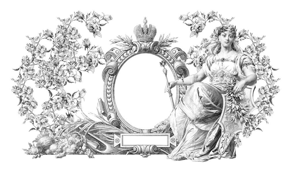 欧式复古花纹与石像雕塑图片