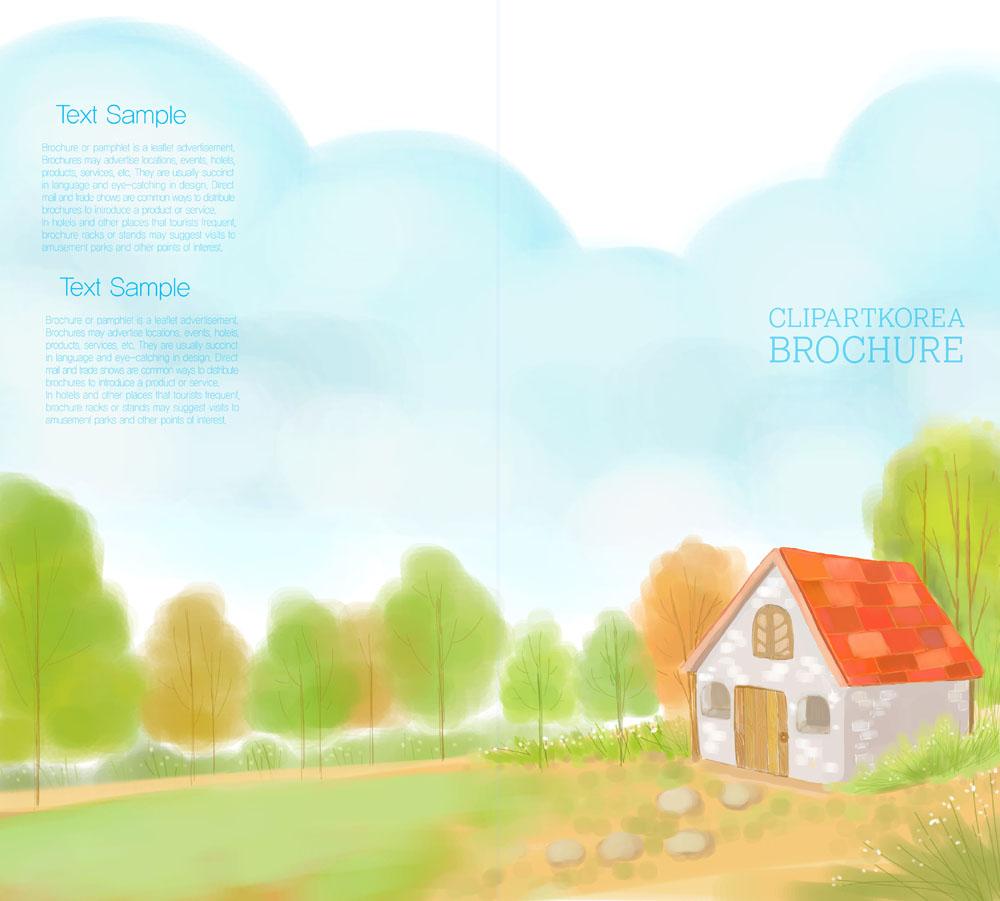 画册设计 卡通,卡通背景,插画背景,插画素材,插画图案,房子,树,大山图片