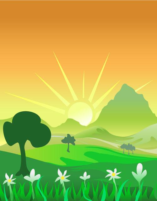 自然风光 草地,山坡,大山,太阳,鲜花,花朵,绿草,绿色,环保,卡通背景图片