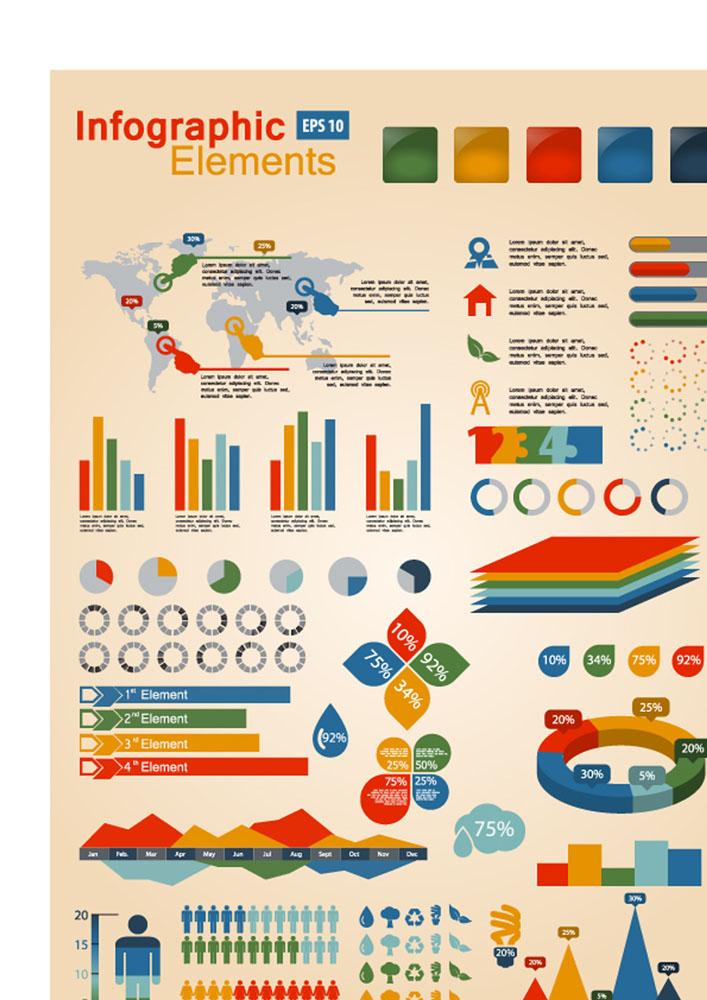 彩色图表,信息,信息图表,报告图表,矢量图表,标签,贴纸,矢量素材,ppt图片