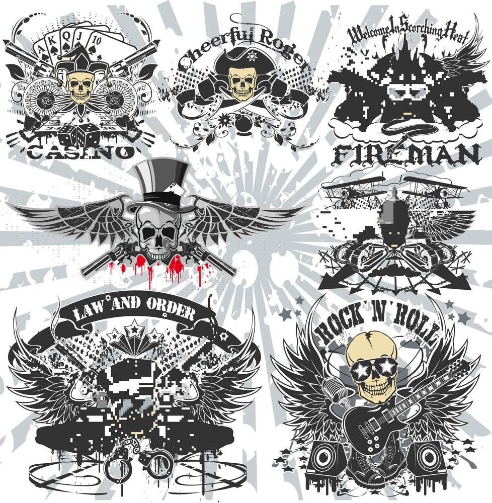 纹身图案,刺青,古典花纹,图腾,复古花纹,时尚花纹,装饰花纹,翅膀,骷髅图片