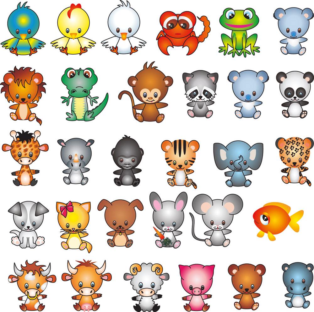 卡通动物插画素材图片 - 1000x994 - jpg
