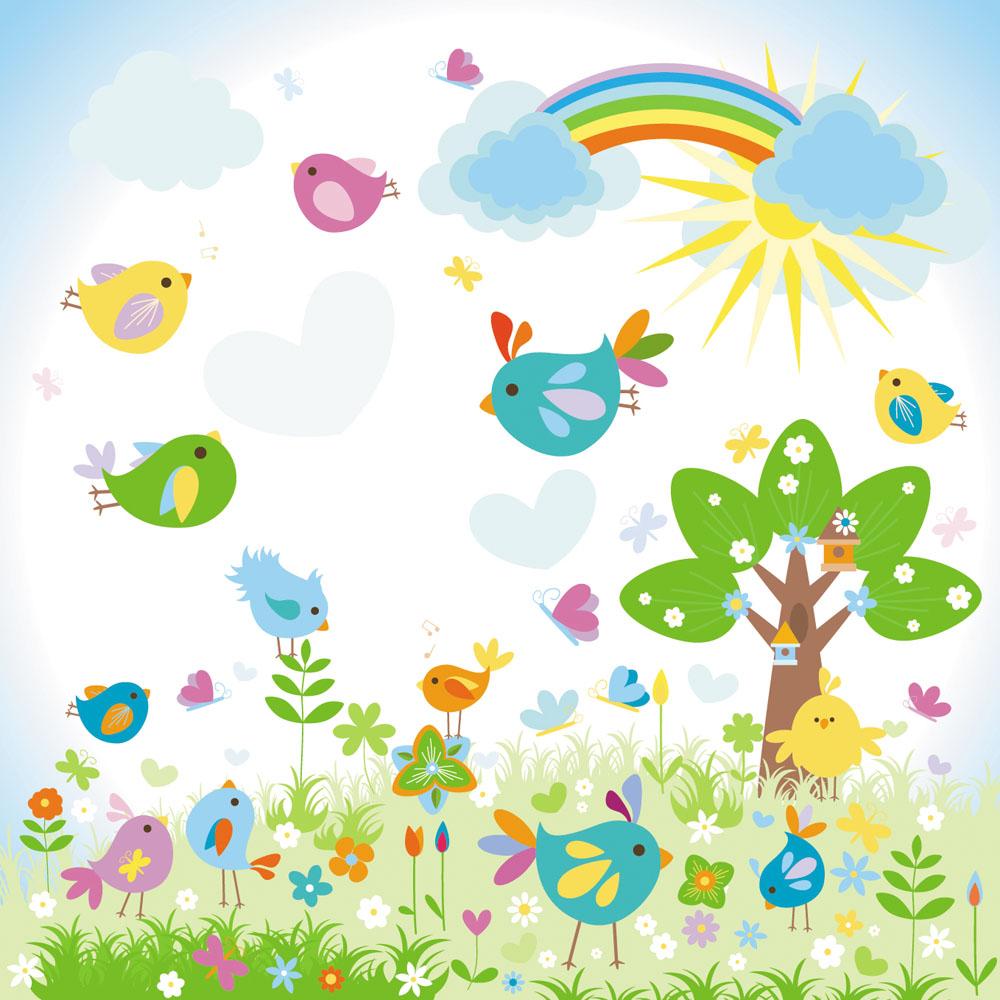 生物世界 花草树木 时尚花纹,底纹背景,底纹边框,卡通小鸟,花草树木图片