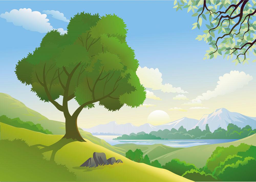 矢量素材 空间环境 自然风光 插画,插画背景,儿童插画,卡通背景,大山图片