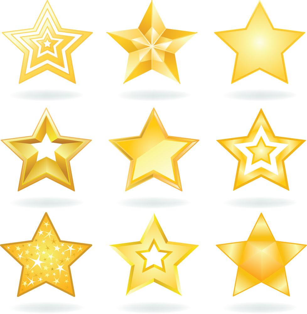 矢量金色星星设计矢量素材下载-按钮图标-标志图标-矢量素材 - 集图网图片