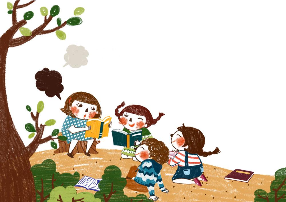 树下看书的小朋友图片图片