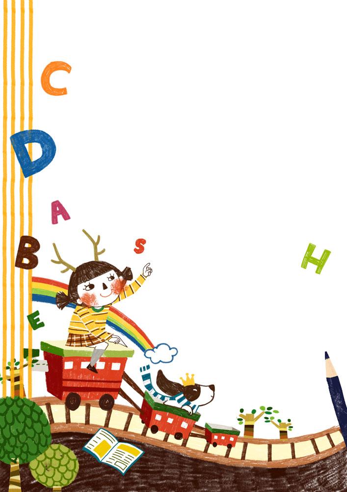 集图网 psd素材 psd分层素材 卡通动漫 女孩,卡通女孩,车箱,英语字母图片