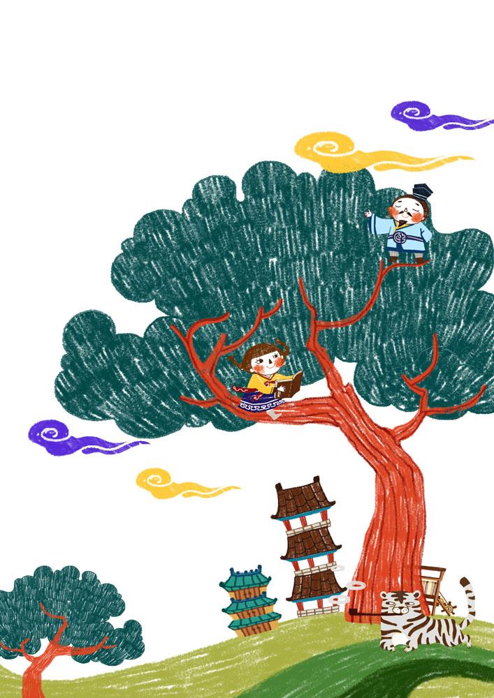 坐在树上看书的女孩psd素材下载-卡通动漫-psd分层图片