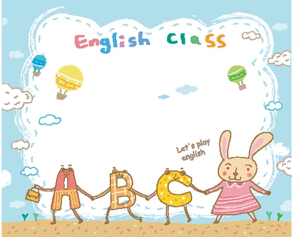 卡通兔子和英语字母图片图片
