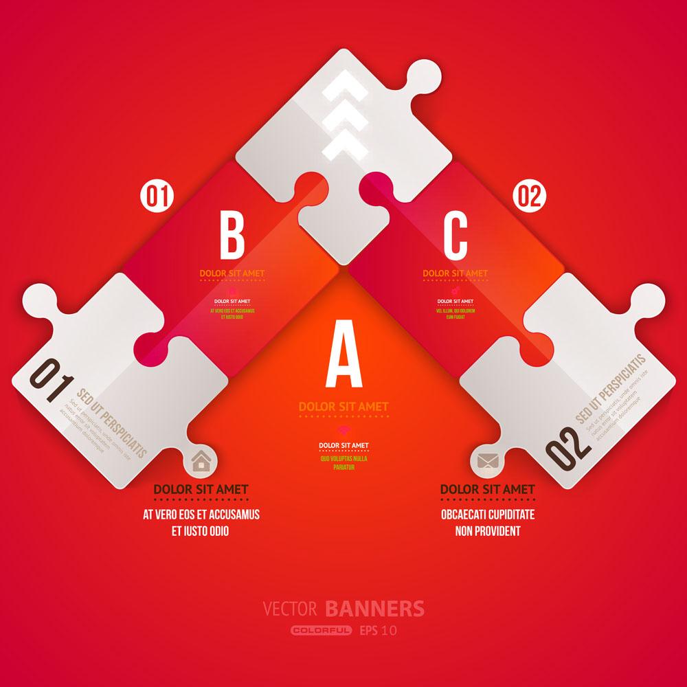 集图网 矢量素材 广告设计 其他模板 彩色拼图,目录标签,网站按钮图片