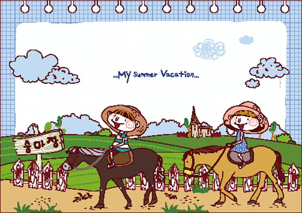 集图网 矢量素材 矢量人物 儿童幼儿 驴,草地,白云,提示牌,卡通人物图片
