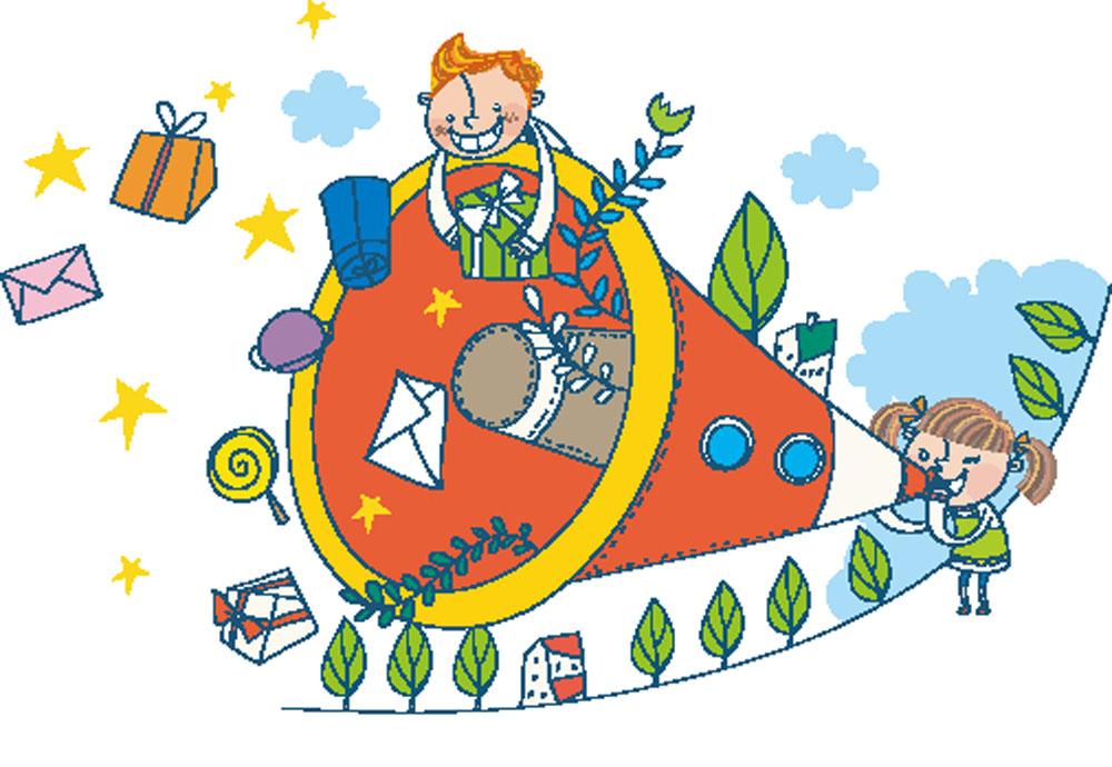 集图网 矢量素材 矢量人物 儿童幼儿 喇叭,人物,礼物,信封,卡通人物图片