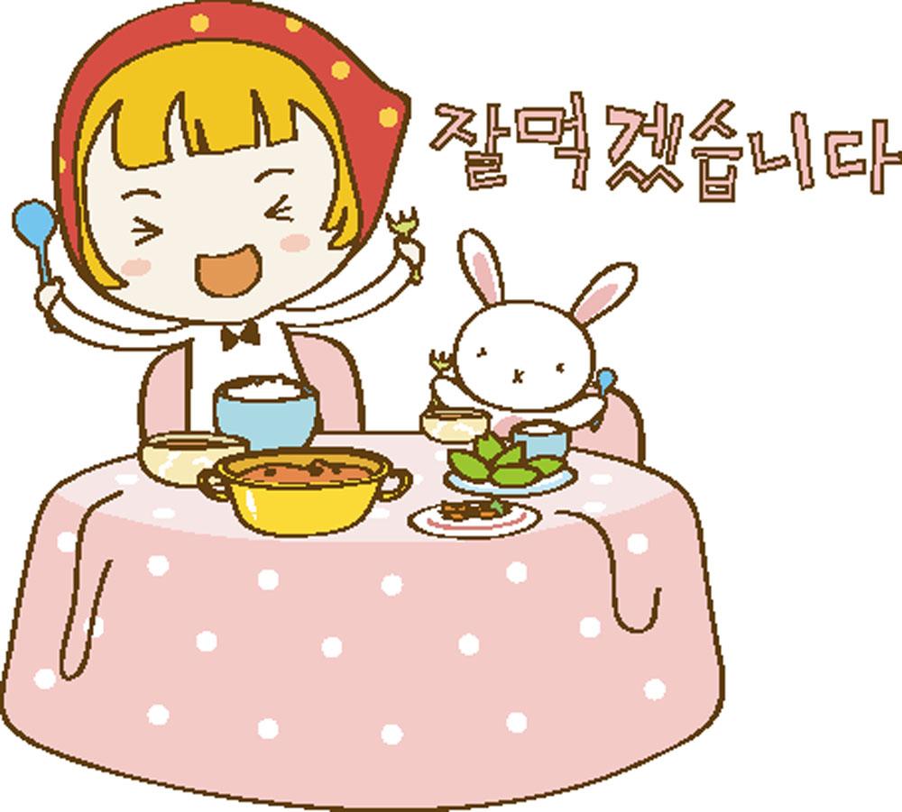集图网 矢量素材 矢量人物 儿童幼儿 餐桌,吃饭,卡通女孩,兔子,卡通人图片