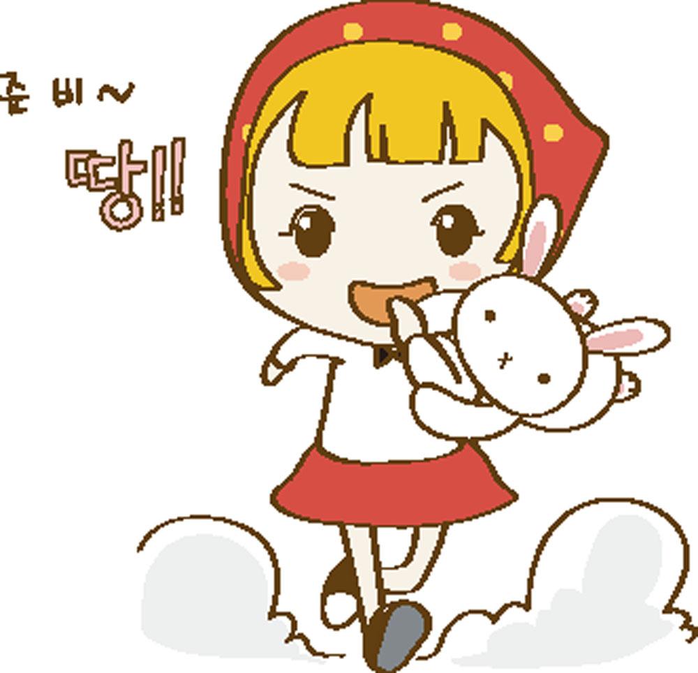 抱着兔子奔跑的卡通女孩图片图片