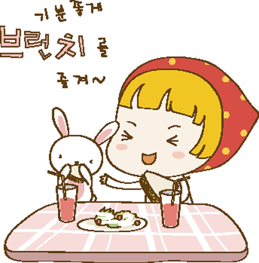 集图网 矢量素材 矢量人物 儿童幼儿 吃饭,女孩,韩国卡通,兔子,可爱图片