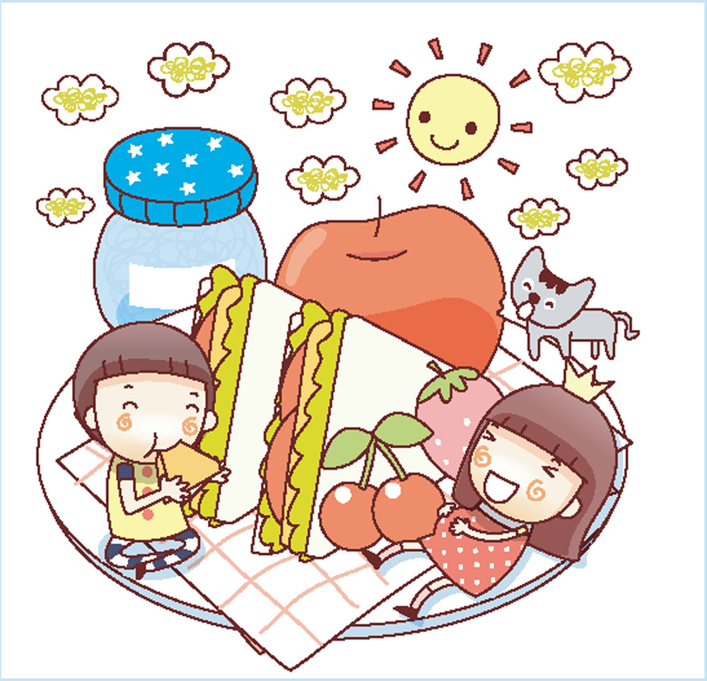 野餐的卡通人物图片