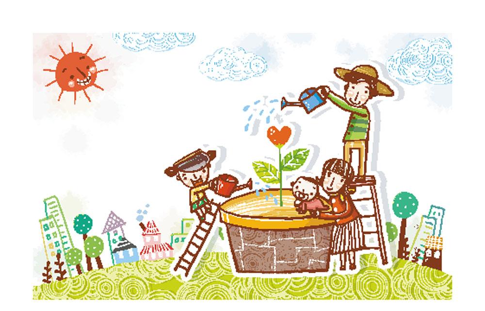 卡通形象 楼梯,树,高楼大厦,太阳,植物盆栽,一家人,爸爸,妈妈,小朋友图片