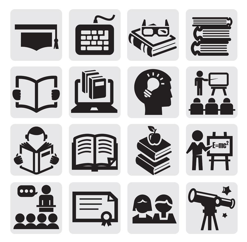 标志图标 按钮图标 人物,头像,望远镜,黑板,课本,大脑,电脑,图标,矢量图片