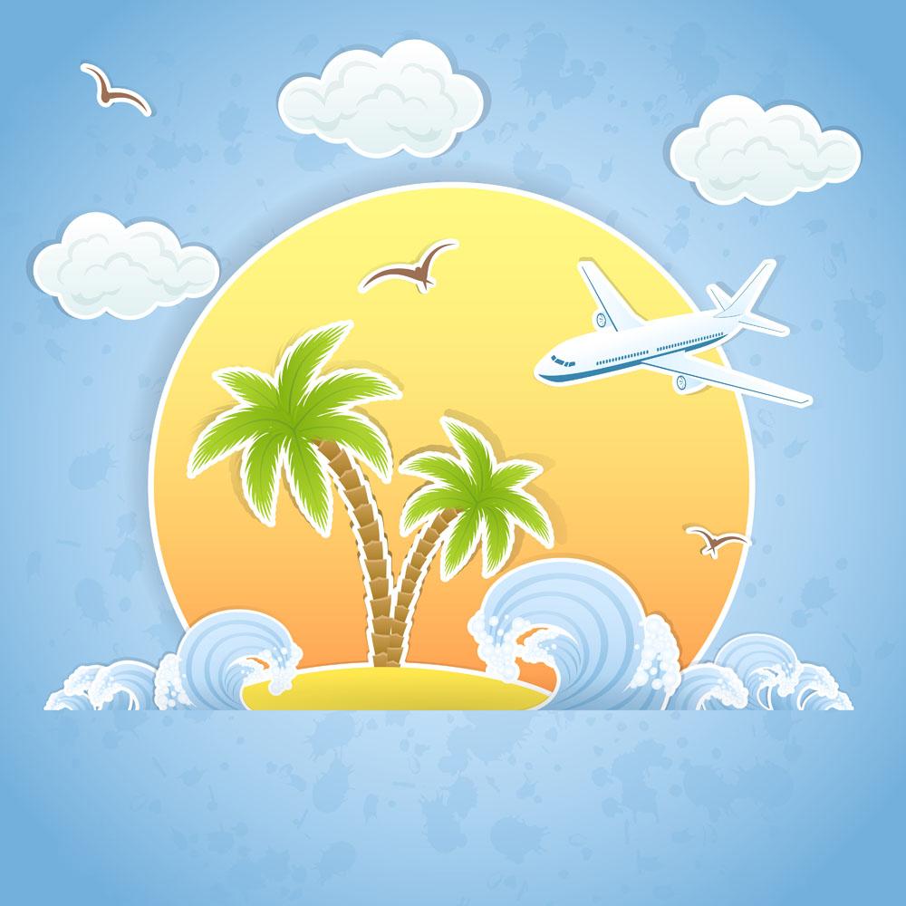其他 夏日,夏日旅游,度假,太阳,飞机,海涛,浪花,沙滩,大雁,图形标识图片