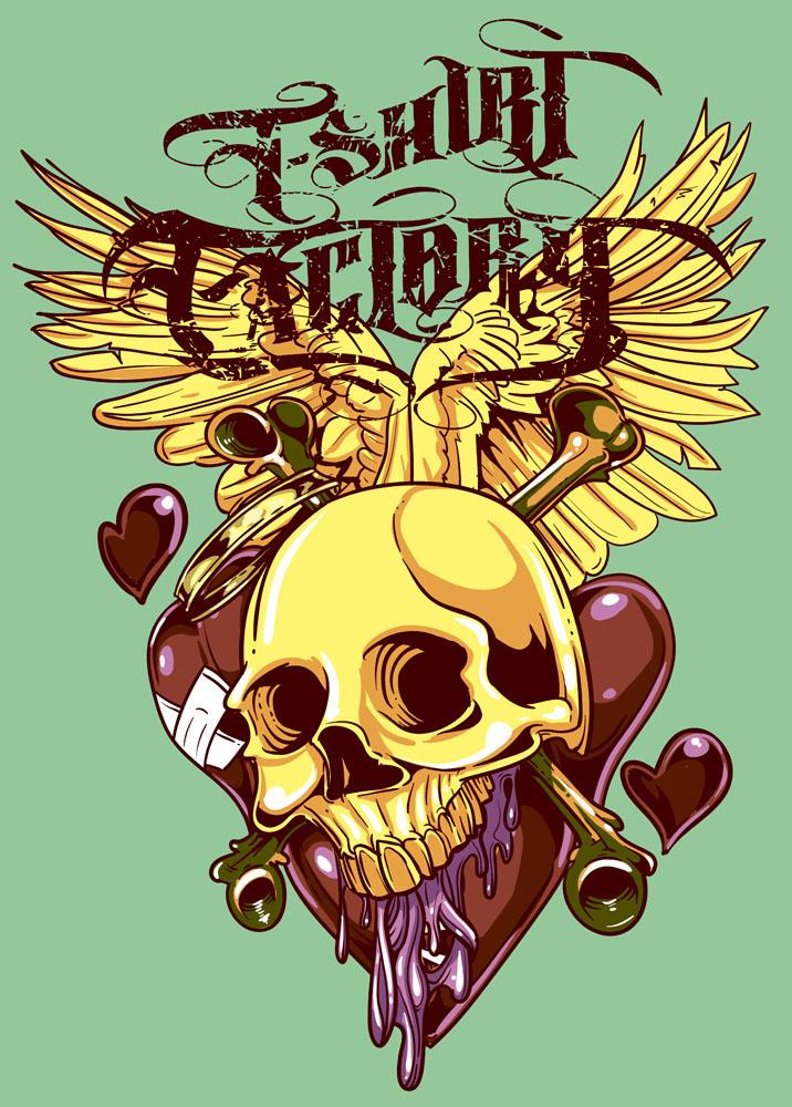 集图网 矢量素材 底纹边框 印花图案 骷髅头,心形,翅膀,骨头,纹身素材图片