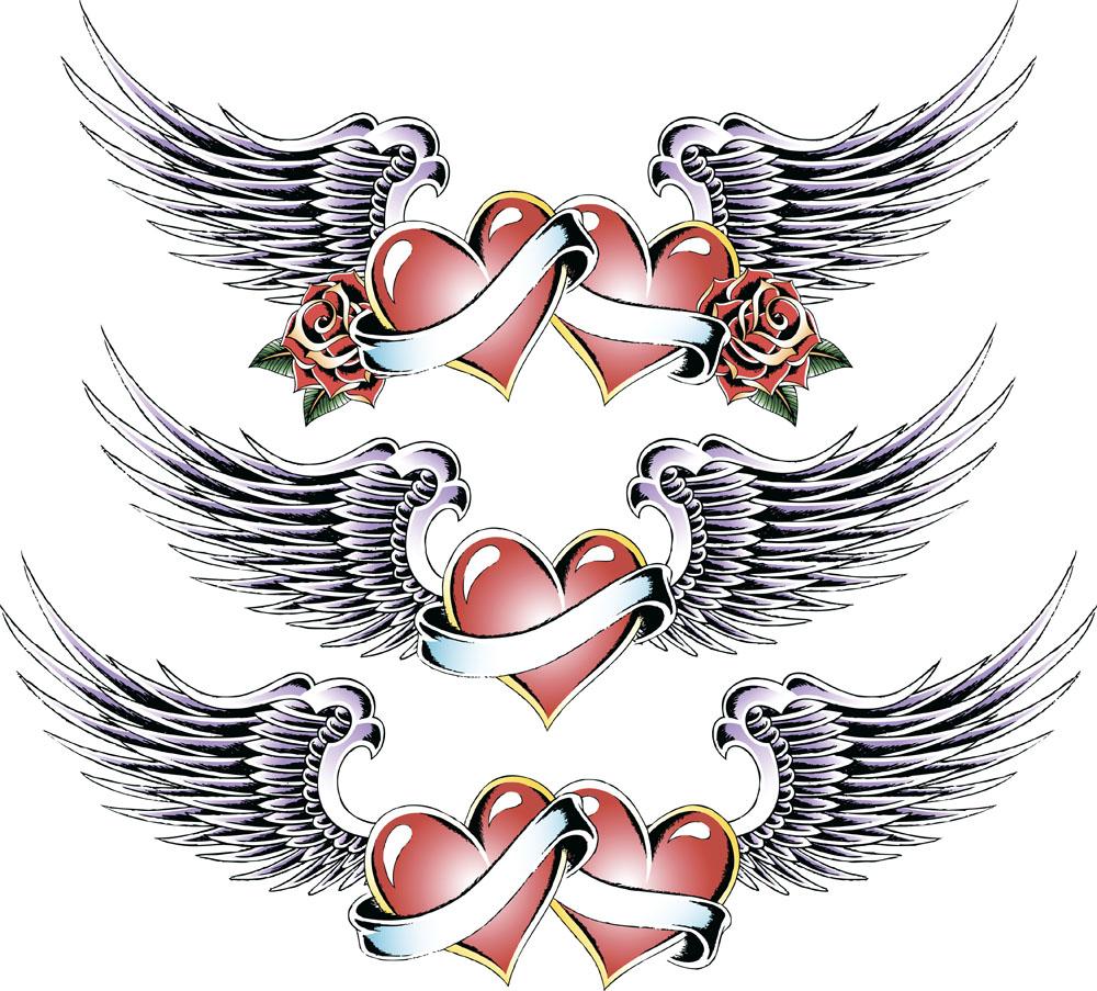潮流,翅膀,心形,爱心,飘带,花纹,矢量花纹,时尚花纹,印花图案,纹身图片