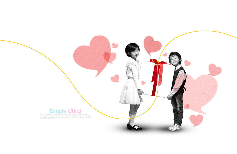 爱心,桃心,心形花纹,线条,礼物,礼包,小男孩,男生,小女孩,小女生,儿童图片