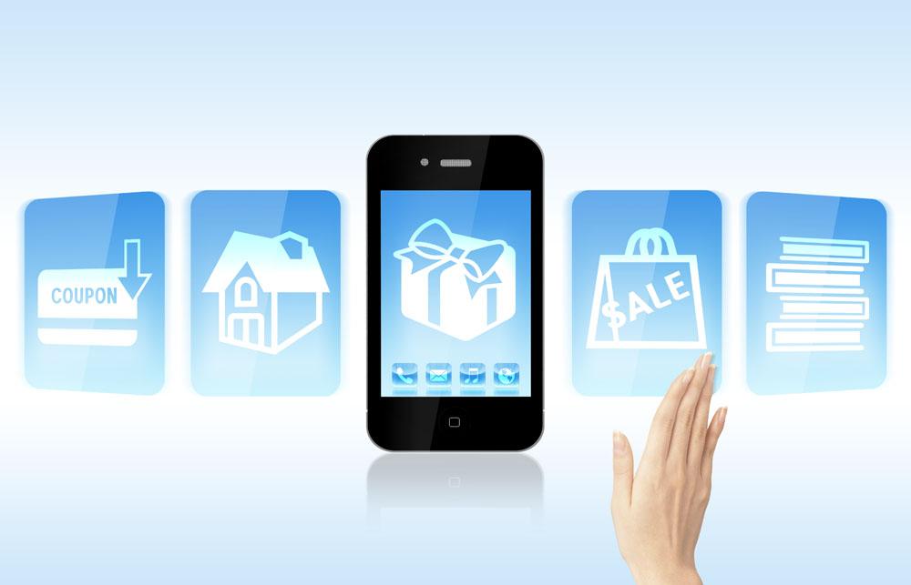 手机���y�`9g*9g,9�^�_智能手机与购物图标图片