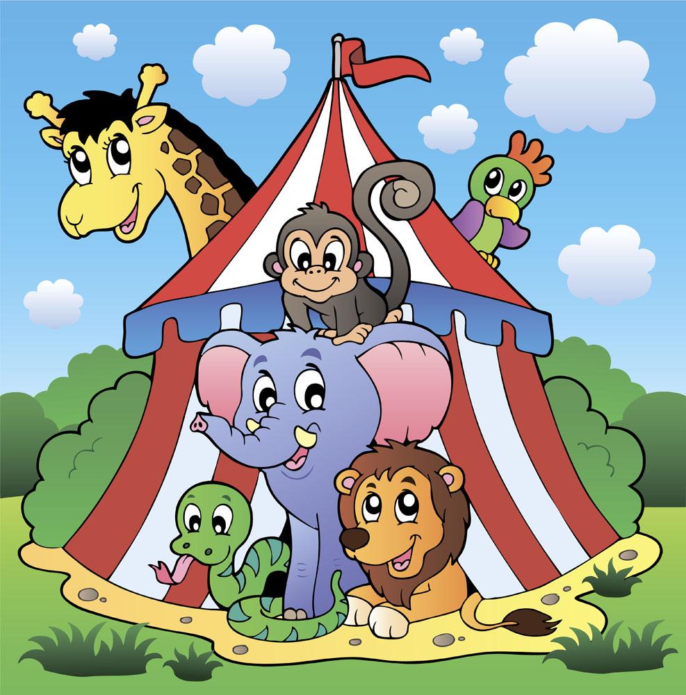 卡通马戏团动物插画图片图片