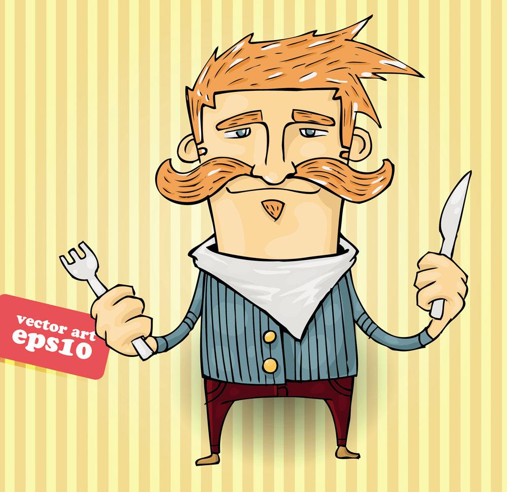 手拿刀叉的卡通男人图片图片