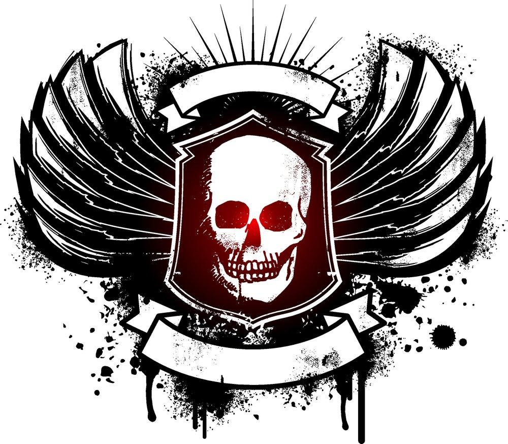 矢量素材 底纹边框 印花图案 骷髅头,翅膀,丝带,墨迹,图案,纹身,t恤图片