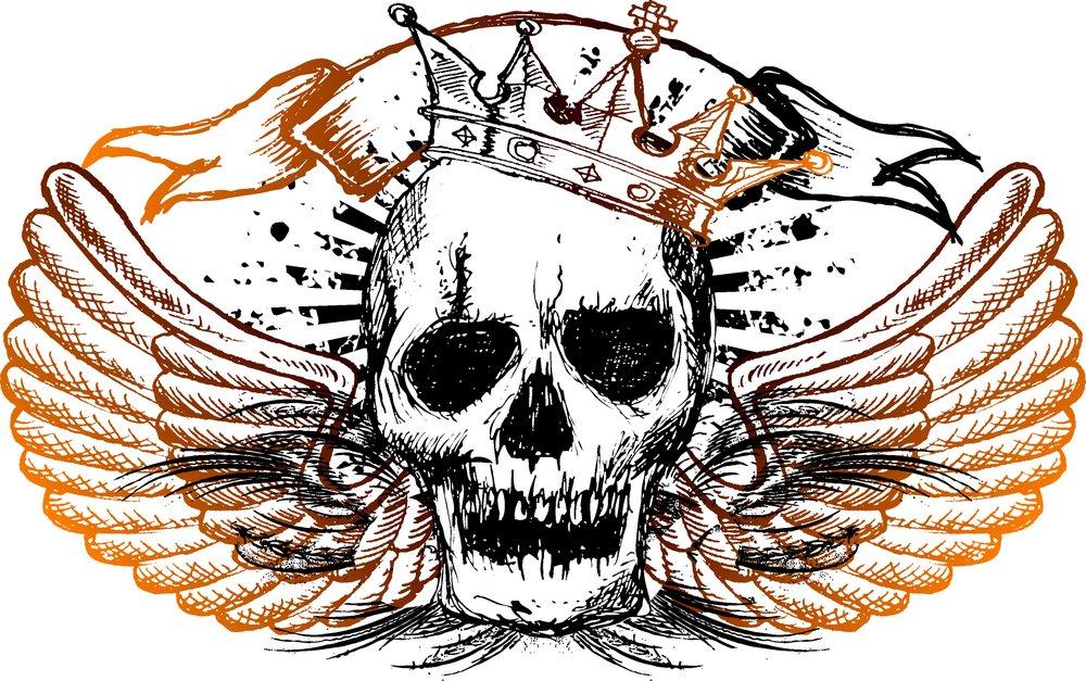矢量素材 底纹边框 印花图案 皇冠,翅膀,骷髅头,丝带,图案,纹身,t恤图片