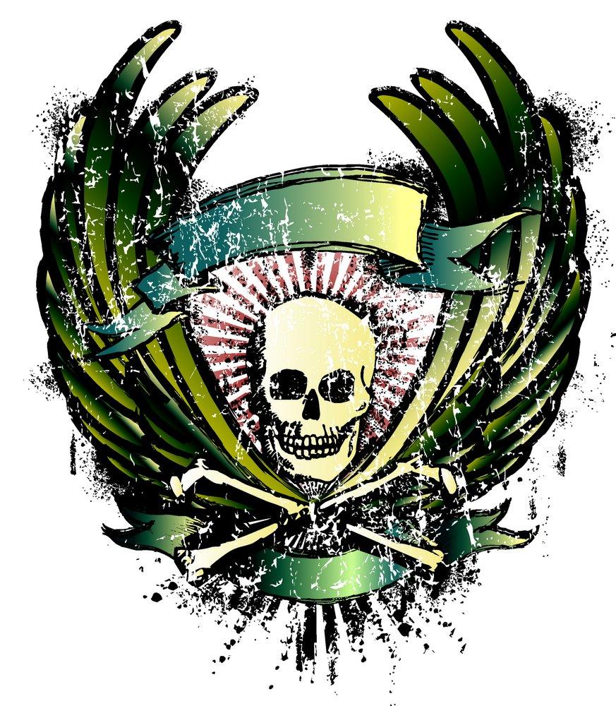矢量素材 底纹边框 印花图案 翅膀,骨头,骷髅头,丝带,图案,纹身,t恤图片