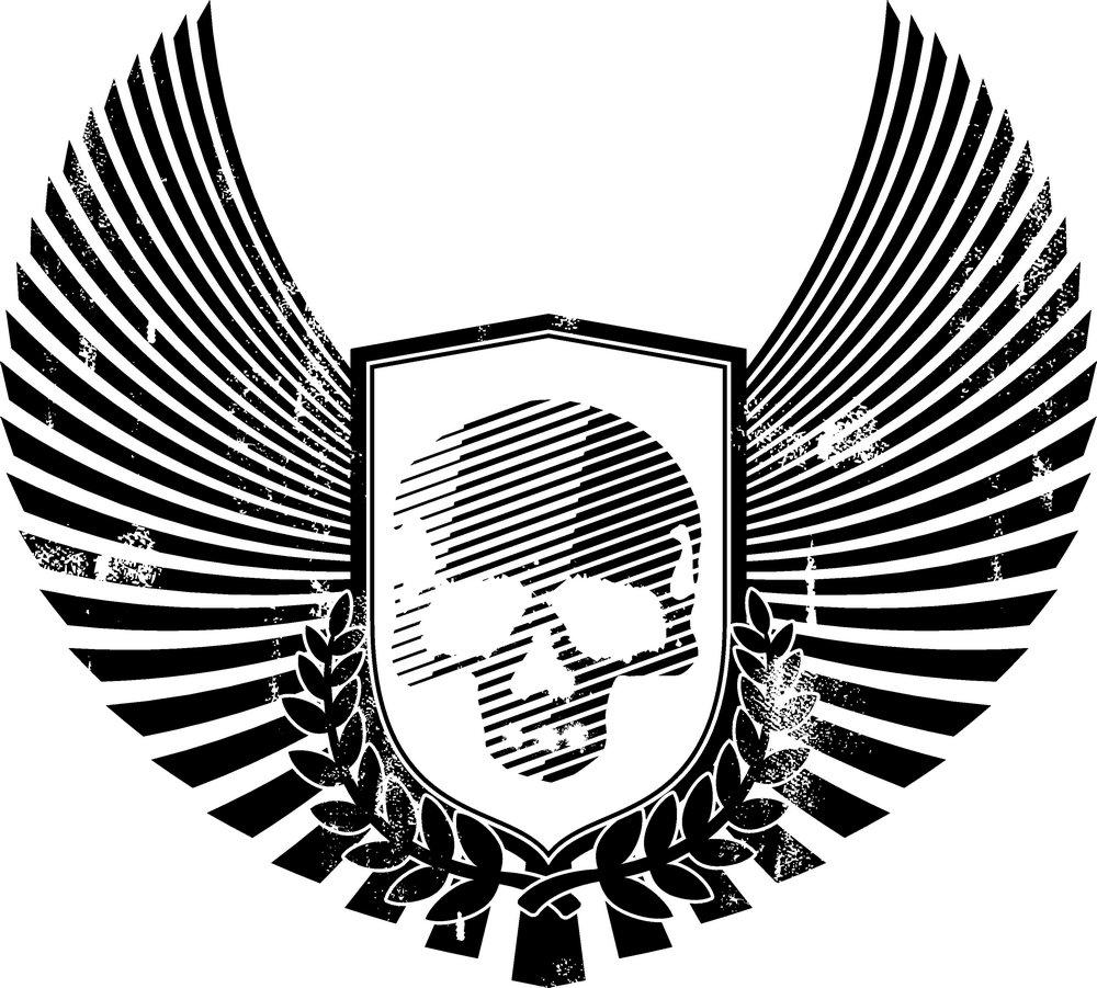 矢量素材 底纹边框 印花图案 翅膀,骷髅头,图标,标志,图案,纹身,t恤图片