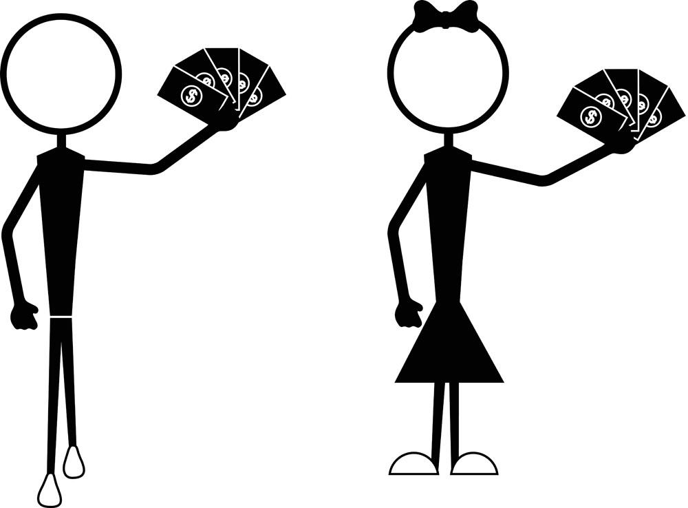 其他人物 拿着纸币的人,男人,女人,卡通画,插画,简笔画,其他人物,矢量图片