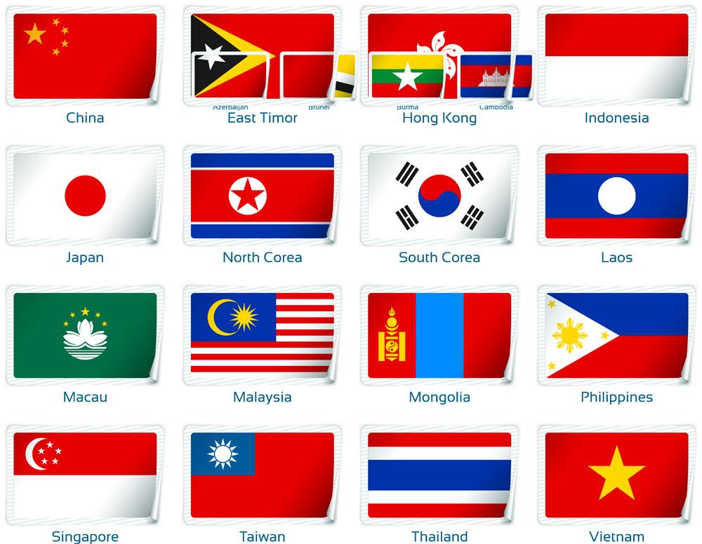 矢量素材 标志图标 其他 国旗,旗帜,五星红旗,日本国旗,韩国国旗,立体图片
