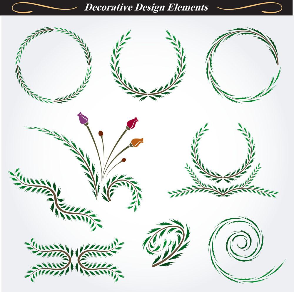 其他 树叶,绿色花纹图标,圆形树叶花纹,花纹设计图,其他,底纹边框