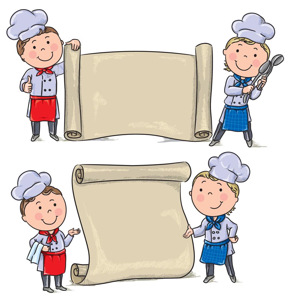 集图网 矢量素材 矢量人物 卡通形象 卡通厨师,卡通卷页,卡通女孩图片
