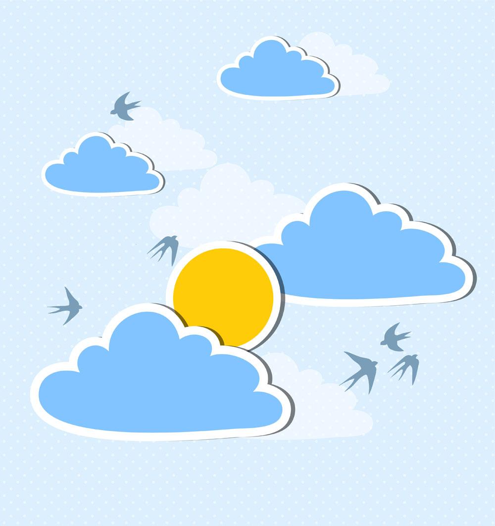 其他 圆点背景,燕子,云朵,太阳,夏日海报,夏天,夏季,清新风格,创意图片