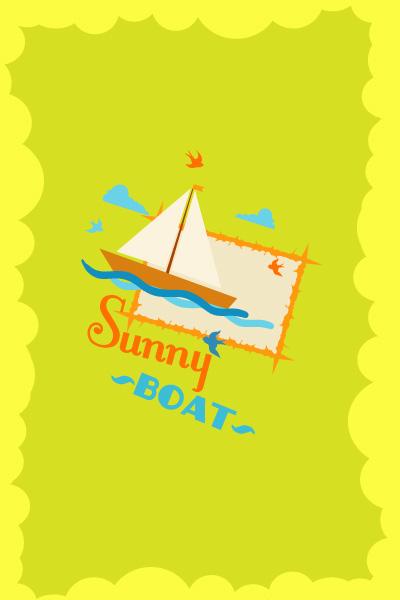 底纹边框 其他 卡通帆船,云朵,圆圈边框,清新风格,卡通海报,创意海报图片
