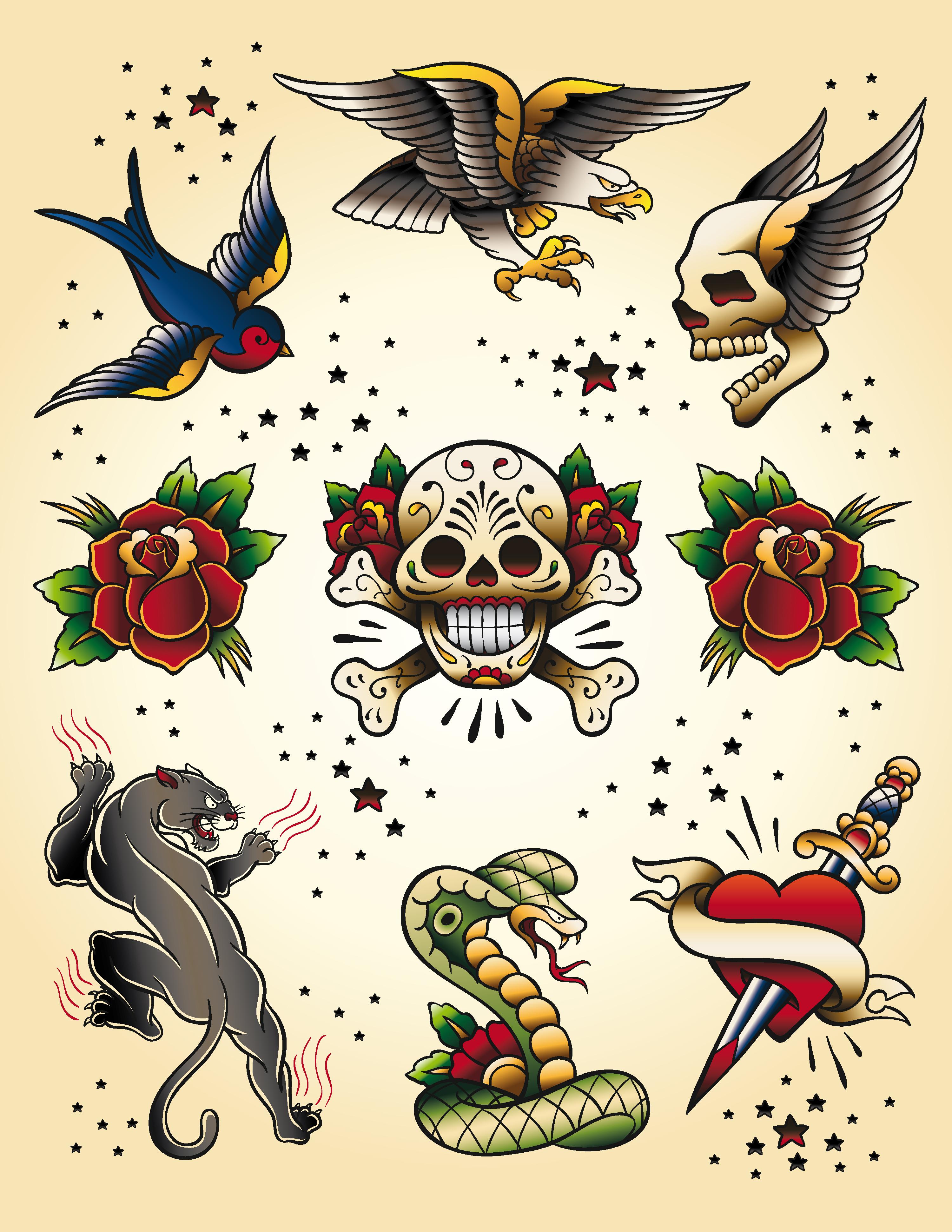 生活百科 其他 燕子,老鹰,骷髅头翅膀,玫瑰,匕首,老虎,眼镜蛇,纹身图片