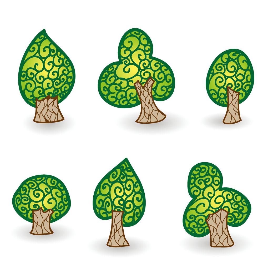 各种形状的卡通树木矢量素材下载-花草树木-生物世界-矢量素材 - 集图图片